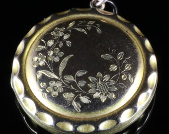 Antique Edwardian Gold Locket Lovely Engraving - Dated 1908