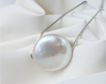 12-15mm Large Coin Pearl Pendant, Floating Coin Pearl Pendant Necklace, Wedding Pearl Necklace Jewelry, Bridal Pearl Pendant