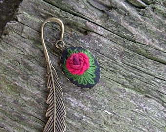 Hand embroidered bookmark, floral bookmark