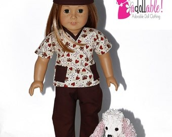 American made Girl Doll Clothes, 18 inch Girl Doll Clothing, Brown Veterinarian Scrubs made to fit like American girl doll clothes