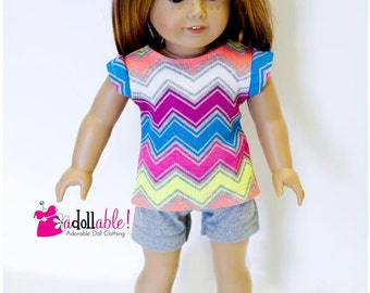 Special Sale American made Girl Doll Clothes, 18 inch Doll Clothing, Chevron Striped Knit Top and Gray Shorts/Leggings
