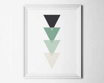 Teal print geometric Printable art Instant download Home decor wall art Triangle print Digital download Art prints turquoise Digital poster