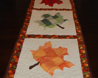 Fall Maple Leaf Quilted Table Runner
