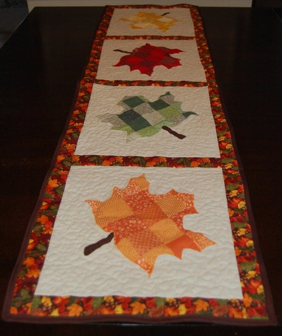 Maple Leaf Quilt Pattern Table Runner : Fall Maple Leaf Quilted Table Runner