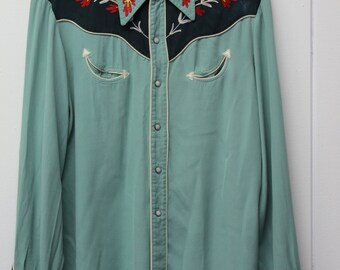Vintage 50's Green Gabardine California Ranchwear Shirt