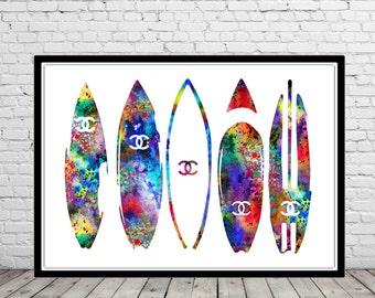 Surfboard, Surf print, Ocean art, surfboard print, sealife, watercolor art print, home decor (2206b)