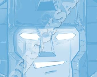 Starscream Blue Pencil Face Sketch