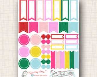 Functional Planner Stickers   Sensible Shapes Sampler   Bettie Palette   45 Stickers Total   #SS06BETTIE
