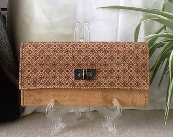 Converible Cork clutch  / women wallet / coin purse /  cork purse / vegan wallet / cork leather / eco-friendly / gift for her / anniversary