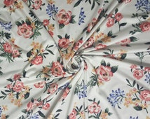 "Rose Floral Jersey Knit Rayon Modal Spandex 4-Way stretch Fabric 58""-60"" Wide By The Yard."