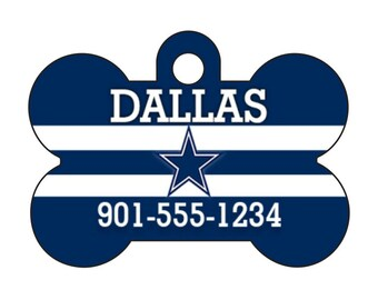 Dallas Cowboys Pet Id Dog Tag Personalized w/ Your Pet's Name & Number