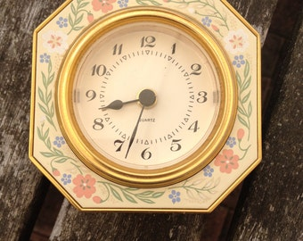 Vintage Ornate Floral Octagonal Gold Coloured Alarm Clock West Germany, Very Good Condition.
