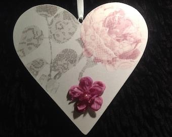 Vintage Rose Wooden Hanging Heart