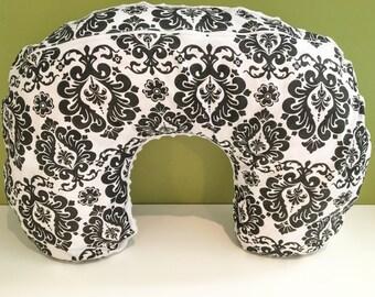 Damask black & white Nursing Pillow Cover | Damask Fabric | White Minky | Boppy cover