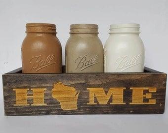 Mason Jar Decor, Personalized State, Farmhouse Decor Mason Jar Centerpiece , Rustic  Centerpiecer,   Housewarming Gift