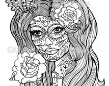 Sugar Skull Day Of The Dead Girl Coloring Page Download