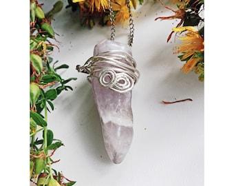 Raw Amethyst Necklace, Long Silver chain, Amethyst Pendant, Purple Crystal, February Birthstone, Raw Crystal Jewelry