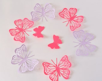 Purple butterfly wall decor birthday paper butterflies 3d for 3d decoration for birthday