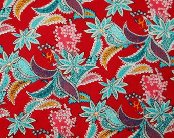Cotton Fabric Red Floral Fabric Dressmaking Material Quilting Fabric Apparel Sewing Fabric Indian Designer Dress Fabric By 1 Yard  ZBC1801