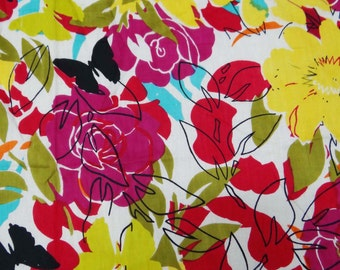 "Indian Multicolor Floral Printed Fabric 44"" Pure Cotton Fabric For Sewing Apparel Dressmaking Indian Supply Cotton Fabric By 1 Yard ZBC4411"