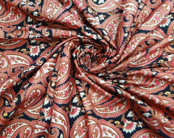 """Beautifull Pure Cotton Polyester Fabric With Rouge Pink Paisley Pattern 41""""Wide Fabric Crafting Sewing Material by 1 Yard ZBC3220"""
