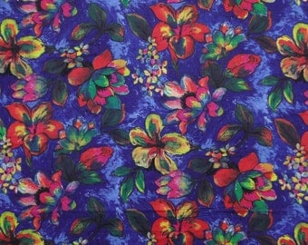 "Decorative Blue Color Floral Pattern Printed Fabric 41"" Wide Crafting Multi Color Dress Making Material Indian Fabric By 1 Yard ZBC5478"