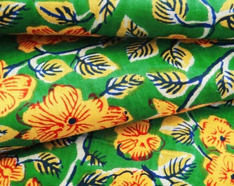 "Green 41"" Wide Floral Print Quilting Cotton Fabrics For Sewing Indian Pure Cotton Apparel Dress Material Crafting Fabric By 1 Yard ZBC7427A"