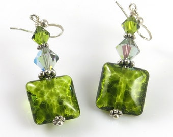 Green Glass Lampwork Earrings, Lampwork Jewelry, Lampwork Earrings, Glass Earrings, Dangle and Drop Bead Earrings, Crystal