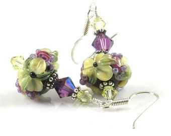 Purple Yellow Floral Earrings, Flower Earrings, Lampwork Glass Earrings, Raised Flower Earrings, Gift for Her