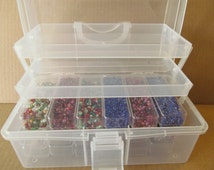 Beading Storage Case - 18 bead boxes and 2 trays - 18 beads storage boxes - Sewing storage boxes =