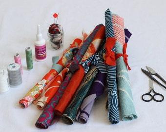 Japanese fabric set, kimono fabric, remnant, fabric scraps, kimono textile, vintage fabric, 12 pieces