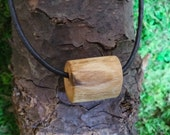Balance: Wood necklace Canadian maple wooden bead and leather choker