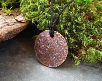 Lava: Textured copper necklace molten rock wabi-sabi pendant on black cord