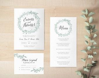 "Digital Wedding Invitation / Printable floral invitation / Digital Invitation Suite / Botanical Wedding Invitation / Design ""Lorelai"""