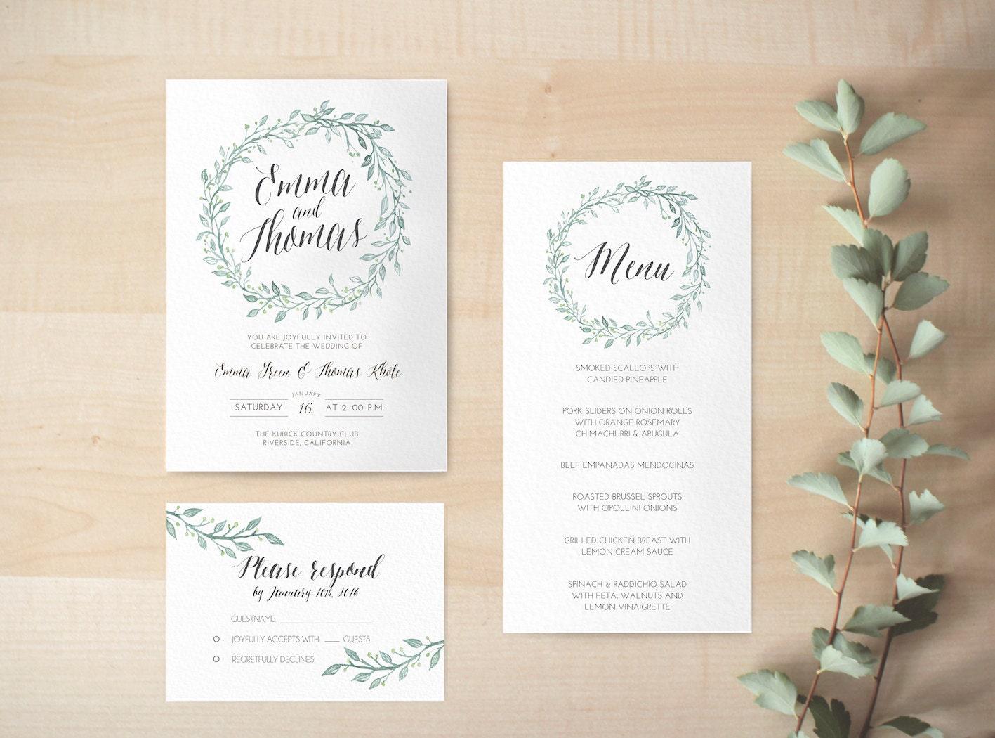 Print Out Wedding Invitations: Digital Wedding Invitation / Printable Floral Invitation