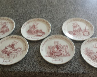 Adorable little Vintage Plates  by Crownford Co.Featuring a little Girls doing daily Chores. Thursday is missing.