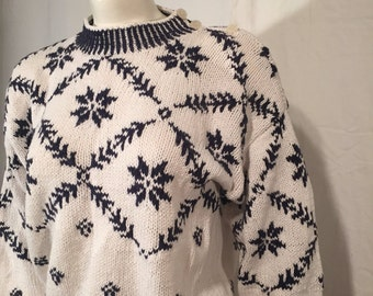 SALE 50% Off UGLY CHRISTMAS SWEATEr Fair Isle White and Navy Blue Large L Here is one that is almost normal Distinction