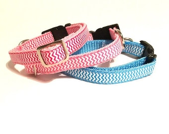 Toy tiny dog collars - chevron pink and blue - 12mm wide