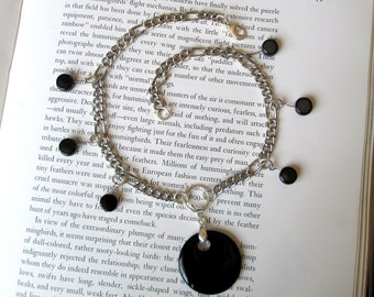 Black Onyx Pendant Necklace on Silver Toned Chain With black ceramic dots