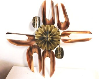 Mid Century Modern wall clock-- brass and copper, works