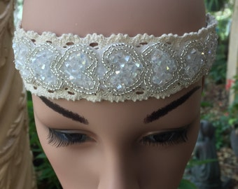 Lace Headband in White with Gold and Crystal Look Beading in Heart Shapes.