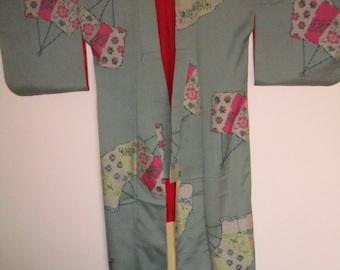 waved silk  kimono 1930s