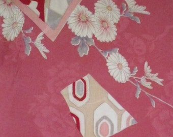 Vintage pink floral girl kimono