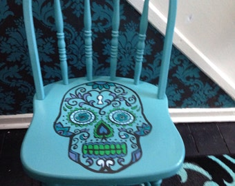 Day of the Dead hand painted green chair