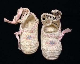 Vintage Crochet Baby Booties