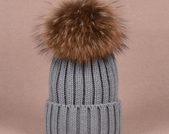 Big Fox Fur Balls Gray Hat Fluffy Large Pom Poms Cute Grey Hat Cotton Women Hats Coffee Puffs Fuzzy BLACK tips Pom pom Knit Beanie for Women