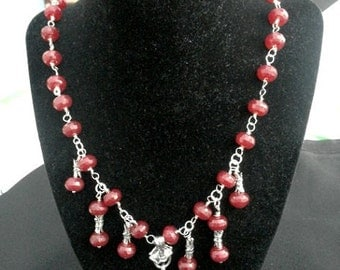 Stunning Watch Fob and Sterling Silver Wire Wrapped Ruby Necklace and Earrings Set