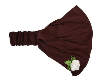 Brown Yoga Headband Fitness Headwrap with Cream Rose Applique Exercise Stretchy Jersey Cotton Fabric Wide Head Band Women's  Hair Accessorry