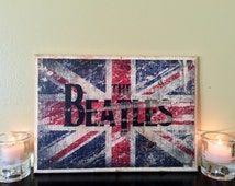 The Beatles British Flag Wood Collage - 8.5x12