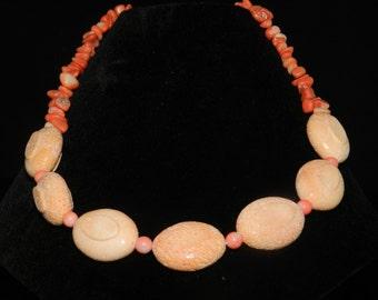 "Natural Orange Coral Necklace 18"""